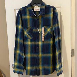 Urban Pipeline Blue Yellow Flannel Plaid Shirt NWT